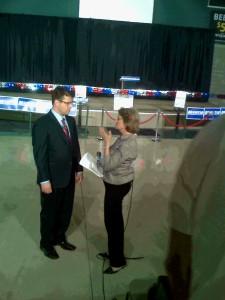 Mollie Cooney interviewing Tim Albrecht