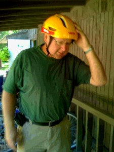 My dad and his helmet