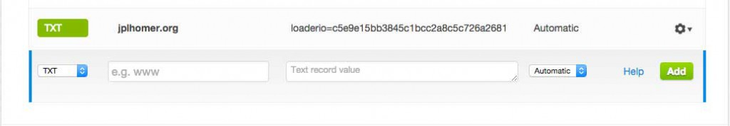 Adding the Loader.io TXT record to my CloudFlare account